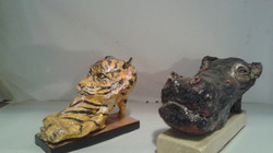 One of a kind Shoe Zoo Tiger & Hippo