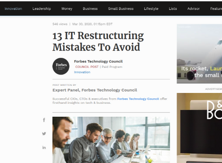 Forbes. Clarity of communication needed in successful IT restructuring, says Future Infinitive