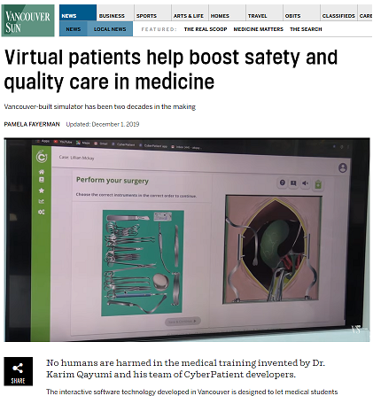 Vancouver Sun. Virtual-reality medical  training to save lives, time and money, says CyberPatient
