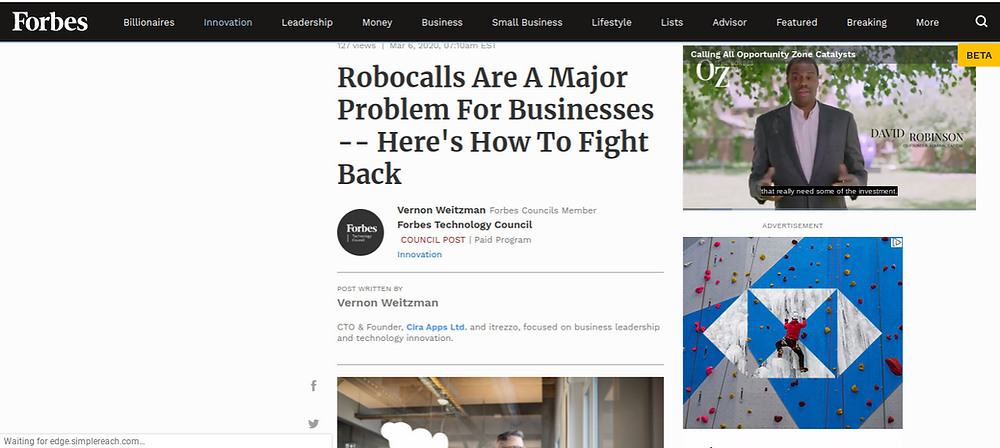 Forbes. Take away the masks to defeat robocaller armies, says Cira Apps