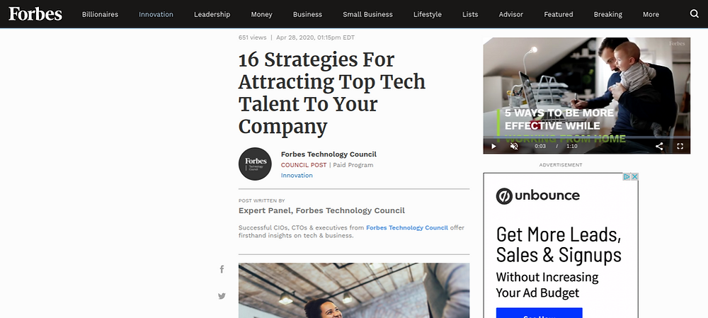 Forbes. Offer unique experiences to draw tech talent, says Future Infinitive