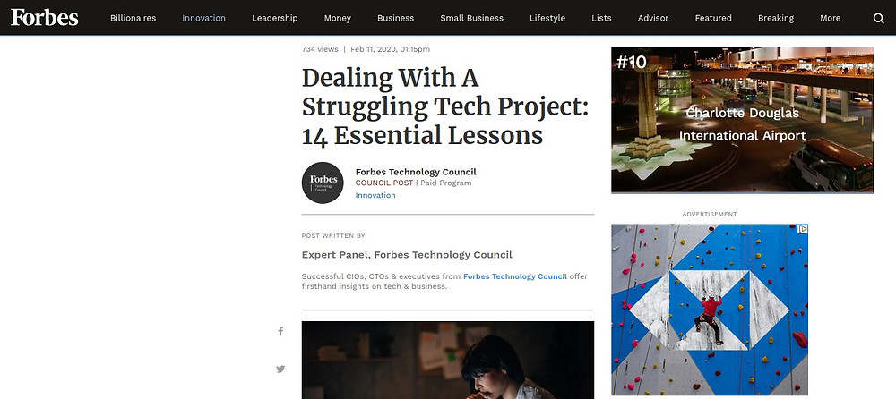 Forbes. Avoid 'scope creep' to right a struggling tech project, says Future Infinitive