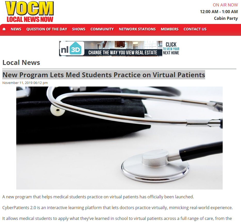 VOCM Radio. 'Patient simulator' brings VR to med school, says CyberPatient