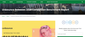 Techcouver. Convert page visitors to buyers with better data, says Unbounce