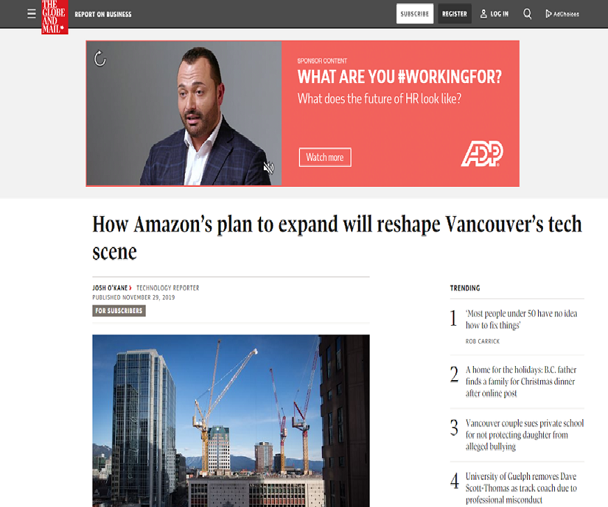 The Globe and Mail. Big Amazon wave likely to lift west coast tech's boat, Unbounce says