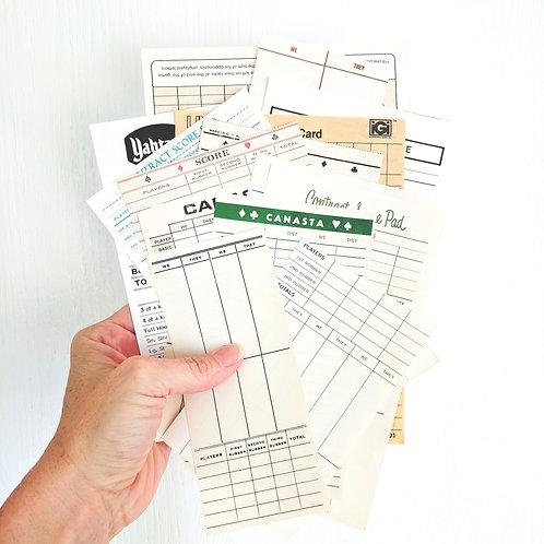 Vintage Score Card Sheets