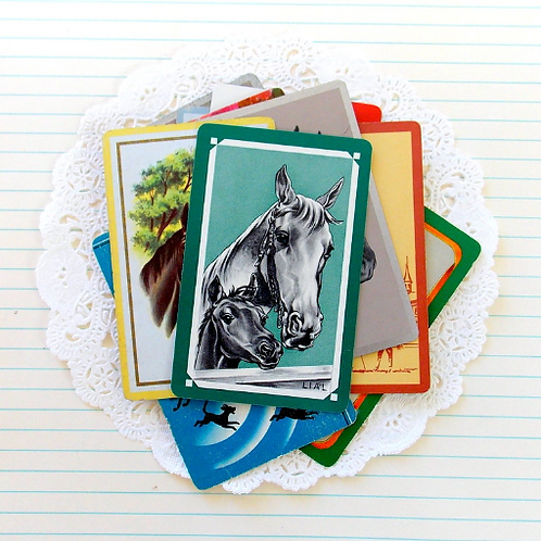 Vintage Playing Cards / Horses
