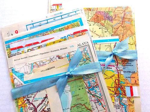 Vintage Map Ephemera Pack