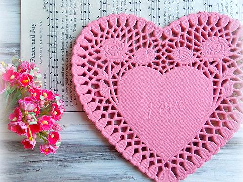 Pink Heart Paper Doilies