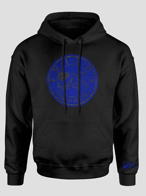 Royal Blue & Black Suede over Shimmer Hooded Sweatshirt