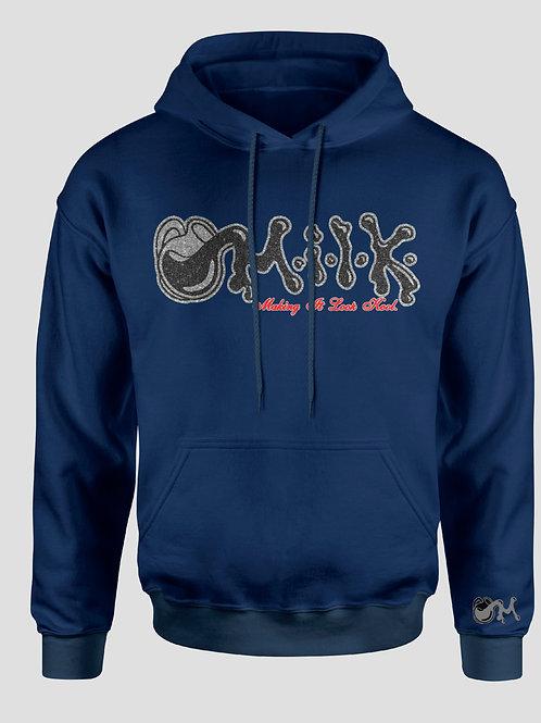 Navy Blue, Black, Red and Grey M.I.L.K Shimmer Hooded Sweatshirt