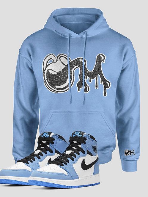 Sky Blue, Black&White  M.I.L.K Drip Logo Hoodie