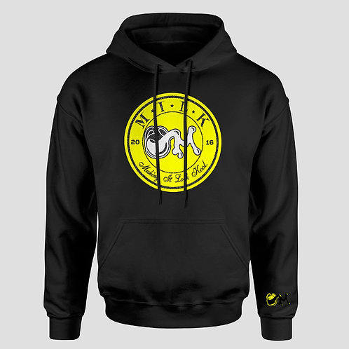 Yellow,Black and White Suede over Shimmer M.I.L.K Crest Hooded Sweatshirt
