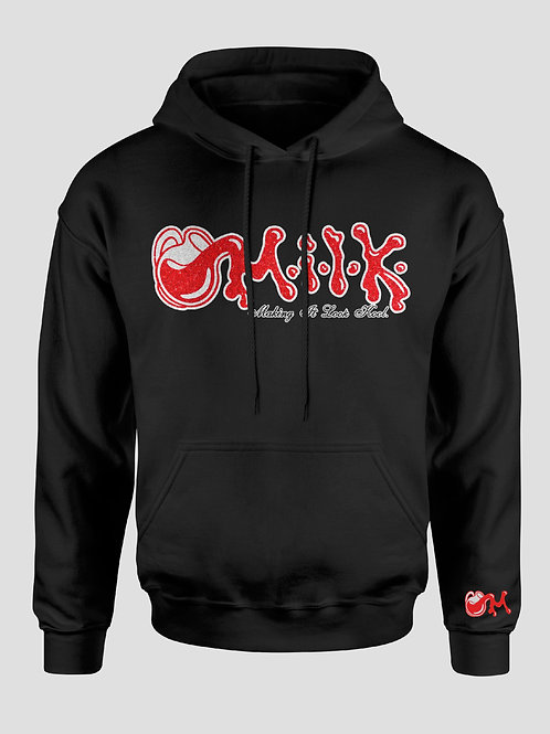 Red & Black and White M.I.LK Shimmer Hooded Sweatshirt