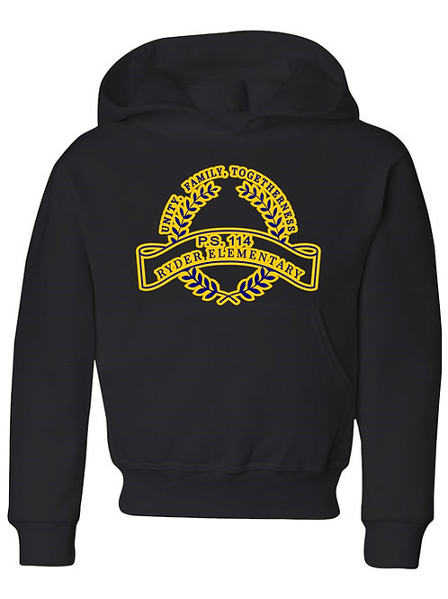 P.S. 114 Staff Hooded Sweatshirt Gold large logo