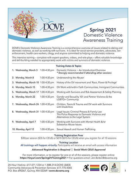 DOVE Spring 2021 Domestic Violence Training