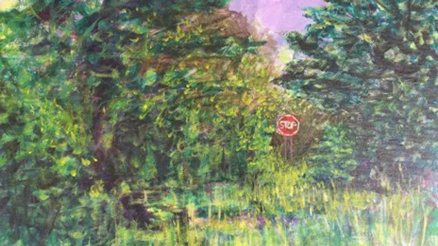 A Stop Sign Seen Through A Clearing In The Woods