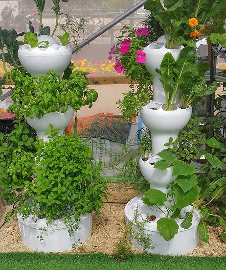 מגדל הידרופוני לגידול 32 צמחים- 3 קומות - טפטוף