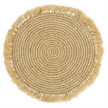 Natural placemat with fringe from Bali