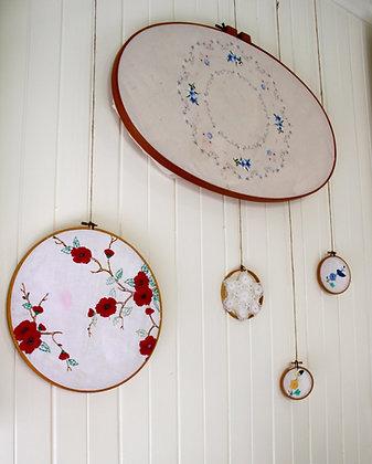 Vintage Linen Hoops