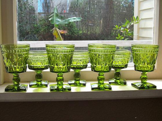 Vintage Indiana Glass Goblets - Green