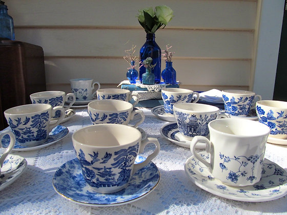 Blue & White Cups & Saucers