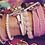 Thumbnail: Bracelet ruban rose surpiqûre blanche