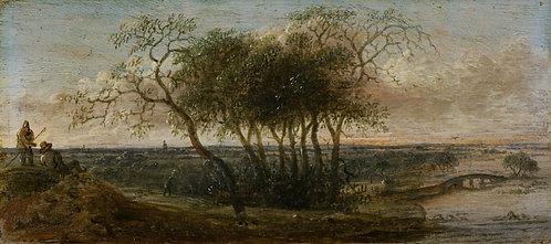"""Anthonie Jansz. van der Croos (1606-1662) """"Panoramalandschap met figuren"""""""