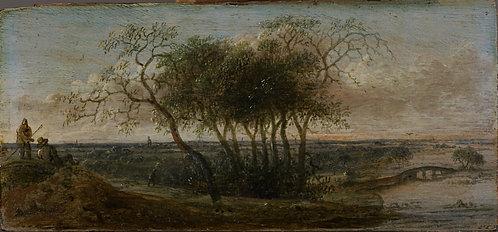 Anthonie Jansz. van der Croost (1606-1662) panoramalandschap met figuren