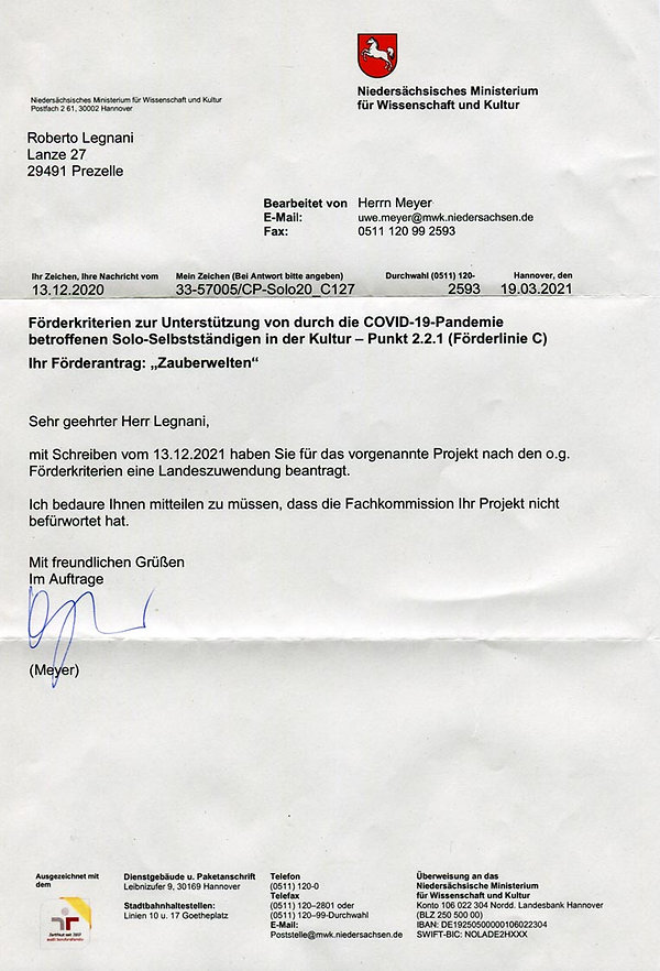 Ablehnung des Niedersächsischen Ministeriums