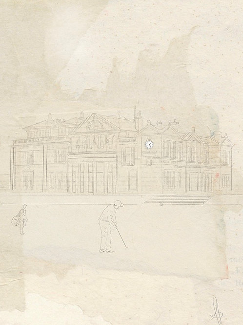 St Andrews Old Course (vintage line drawing)