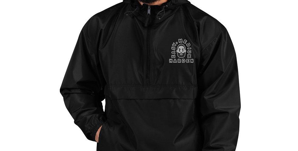 Easy, Medium, Harden Embroidered Packable Jacket Black & Grey