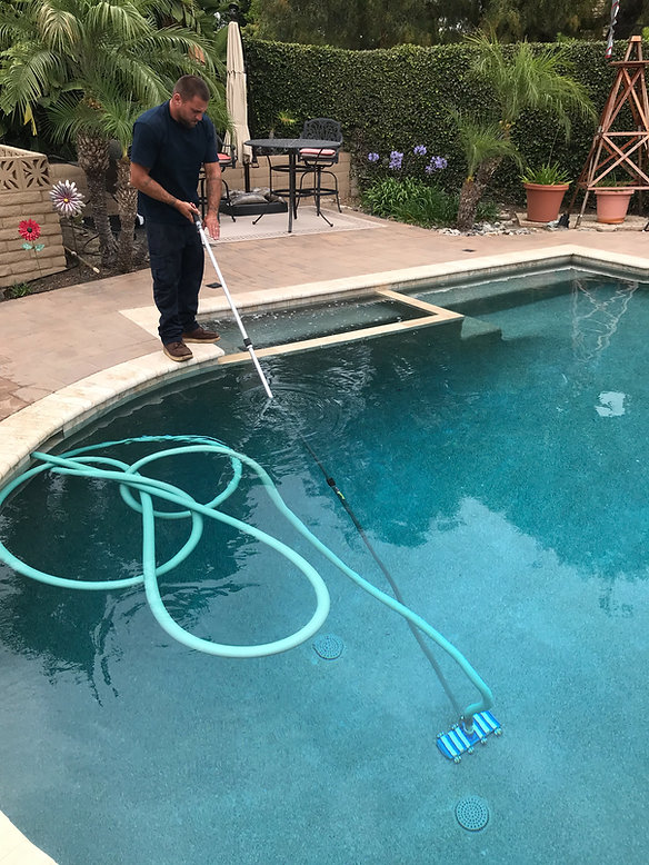Pool cleaning at Orange County home.
