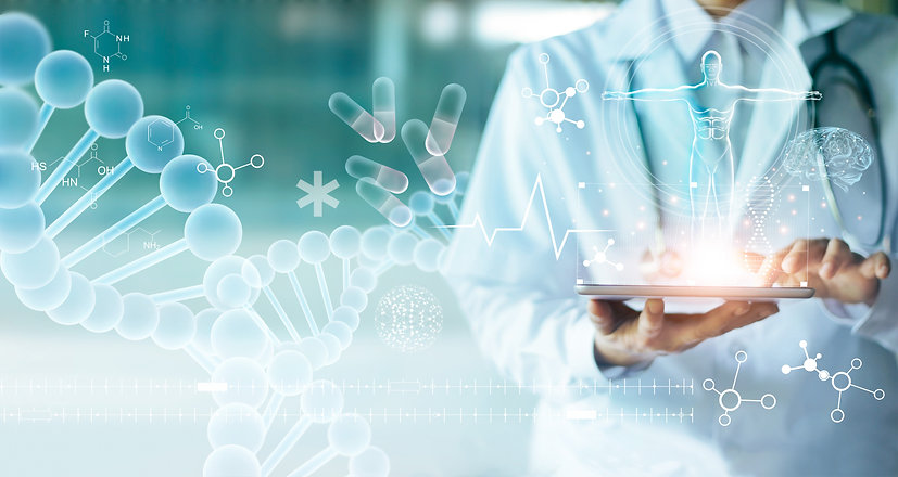 _Medicine doctor touching electronic medical record on tablet. DNA. Digital healthcare and