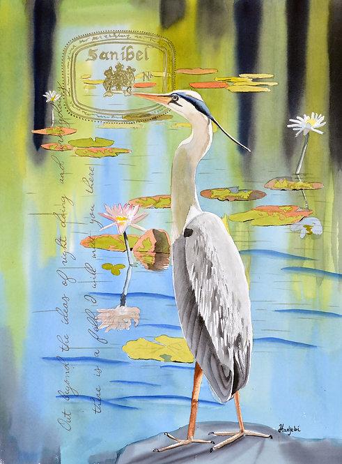 Blue Heron III - an 18x24 Original watercolor of a Blue Heron by Shah Hadjebi