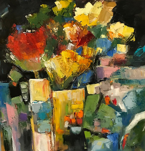 """Inspiring Floras"" Original Abstract Oil Painting by Joan Roberts"