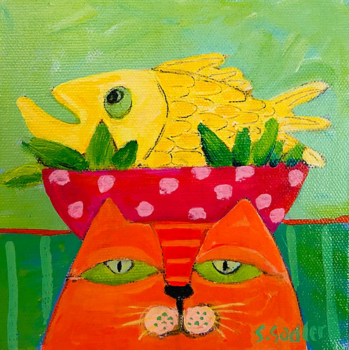 """Tuna Salad"" original acrylic on 6x6 inch canvas by artist Susan Sadler"