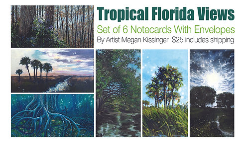 Package of 6 art cards with envelopes by Megan Kissinger $25