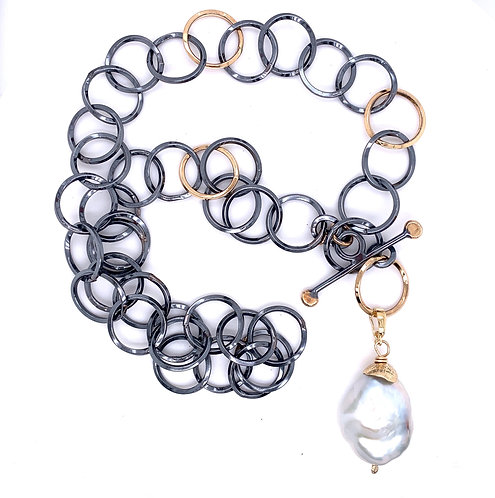 Sterling Silver and 14k gold necklace with Soufflé Pearl by Kathleen Dennison