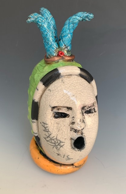 """April Fool"", a handbuilt, raku fired clay sculpture by JoAnne Bedient"