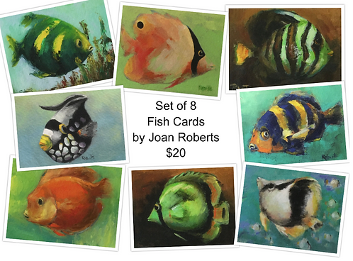 8 Fish Note Cards by Joan Roberts (Set #1)