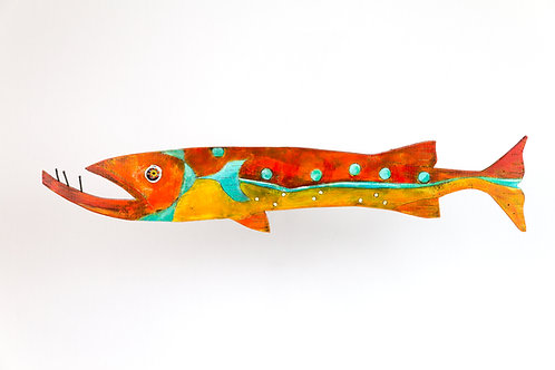 Custom-Made Barracuda Original acrylic painting on wood by Kelly Morrison