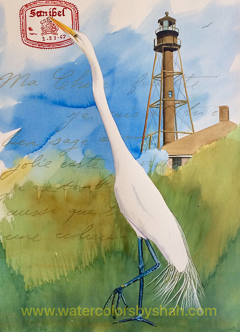 """Lighthouse Egret"" Ltd. Edition Giclee on fine art paper by Artist Shah Hadjebi"