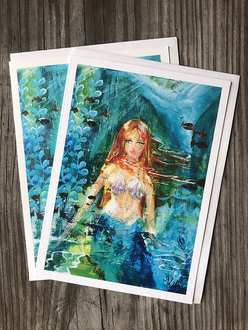 Package of 6 Mermaid notecards by Kelly Morrison