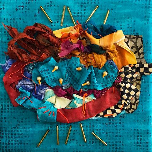 """""""Thread Study""""  (on turquoise)  Fiber Art by Sally Dutko"""