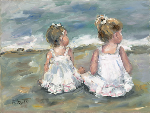 """Two Little Girls on the Beach"" by Joan Roberts"