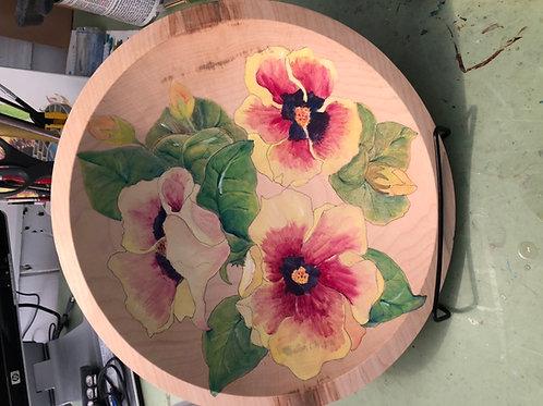 Original Hand painted Hibiscus Maple Wood Bowl by Artist Marianne Ravenna