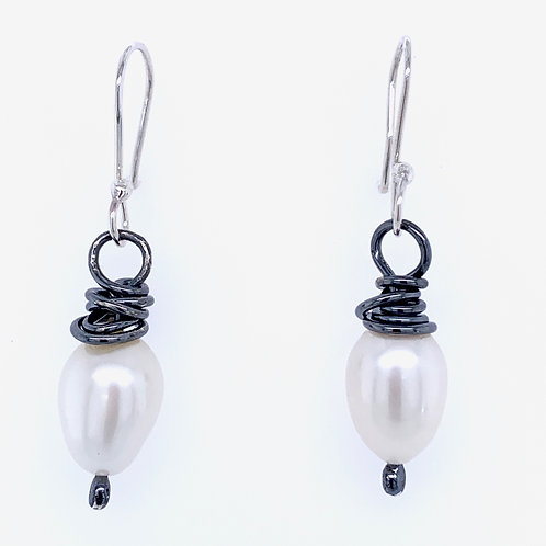 Oxidized sterling silver with freshwater Pearls Earrings by Kathleen Dennison