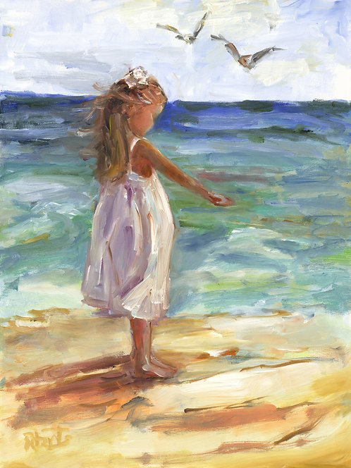 """""""Feeding the Birds"""" by Joan Roberts 16x20 Matted Print Little Girl on Beach"""