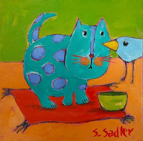 """Feed the Kitty"". 6x6 original acrylic on canvas. $58.  Created by Susan Sadler"